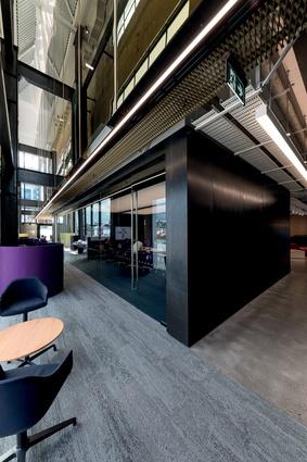 Black steel is used as cladding on the ground floor meeting room.