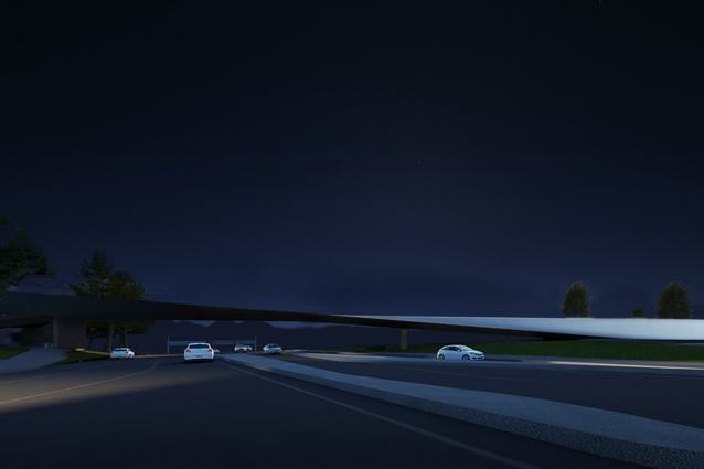 The proposed Tasman Highway Memorial Bridge by Denton Corker Marshall at night.