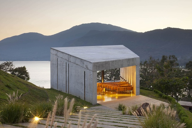 Cardeau Chapel, El Salvador by EMC Arquitectura. Simple yet striking architecture that provides space for diverse experiences, with a stunning view out to Lake Coatepeque.