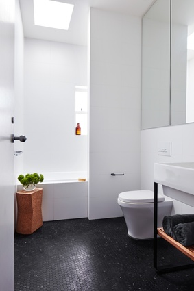 The old entry and bathroom were transformed into a larger, more contemporary bathroom.