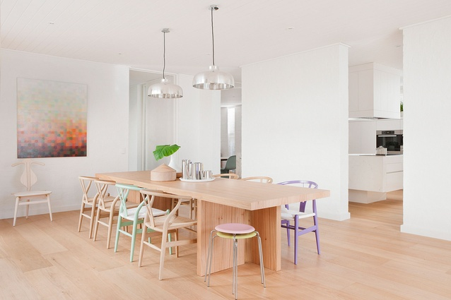 Pastel references bring vibrance to this pared back space.