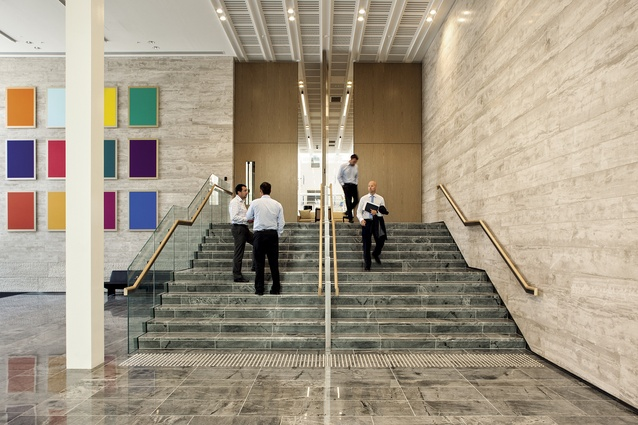 Internal access to the new pavilion, which houses an array of flexible meeting spaces.