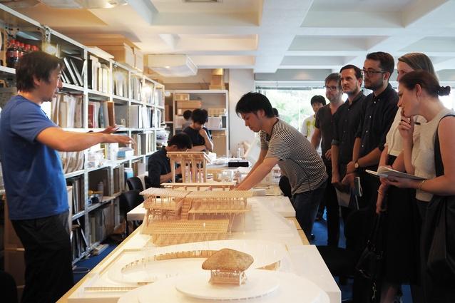 2015 Dulux Study Tour winners at Tezuka Architects's studio. L–R: John Ellway, Nic Brunsdon, Casey Bryant, Monique Woodward and Bonnie Herring.