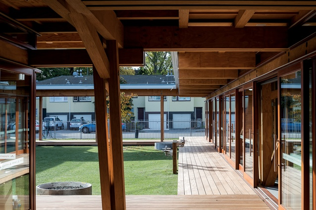 """Under one of the verandahs is a drinking fountain which has the school motto inscribed on the side in Japanese text. """"It's nice because the kids ask, 'What does that say?' and the teachers use the school as a teaching tool,"""" explains Barrie."""