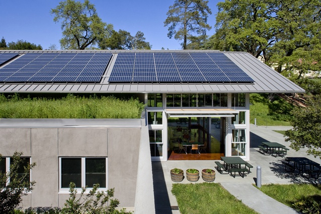 Branson School Student Commons. An array of 136 photovoltaic panels generates 31 kilowatts or approximately 60 per cent of the energy needed to power the building.