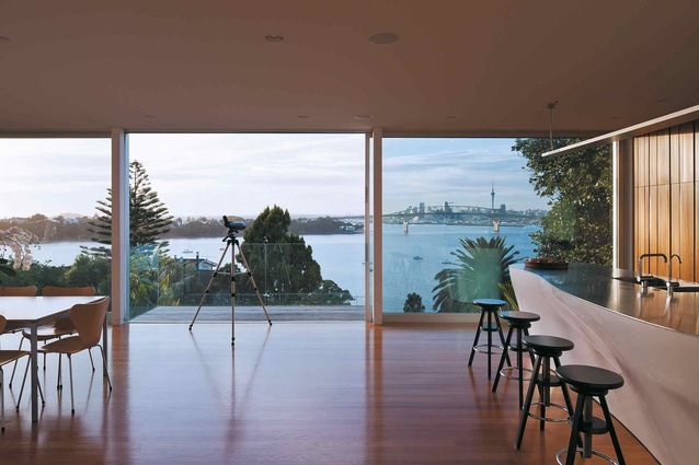 Looking at the Harbour Bridge and Auckland city from the main living space.