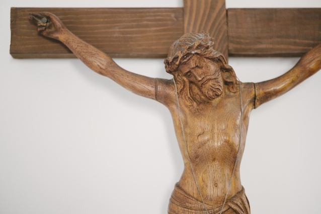 """Wooden Christ: """"This was my great-grandmother's, it used to hang on a plaster cross. It went to his mother, then after she died, a lot of people felt a bit spooked by it, so I got to keep it."""""""