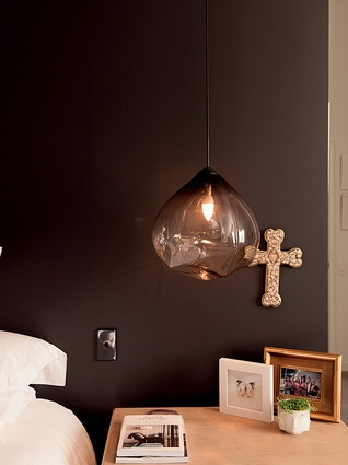 "Parison pendant lights: ""Their unusual shape creates really lovely crystalline patterns on the walls. Also, John loves to read in bed and I find these are easier to sleep with."""
