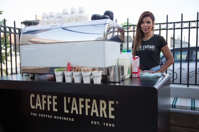 Guests enjoyed an early morning Caffe L'affare coffee served from a cart at the venue.