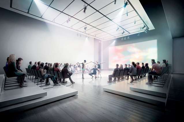 A theatre inside Snøhetta's extension to the San Francisco Museum of Modern Art.