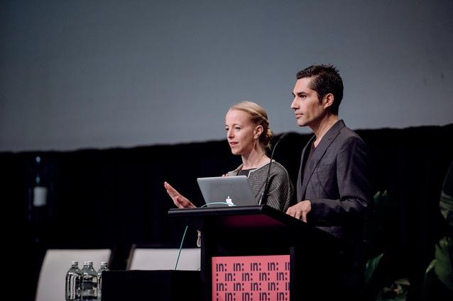 Sofia von Ellrichshausen and Mauricio Pezo, from Pezo von Ellrichshausen speaking.