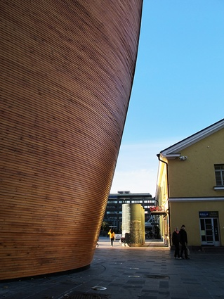 The curved boat-like timber exterior.