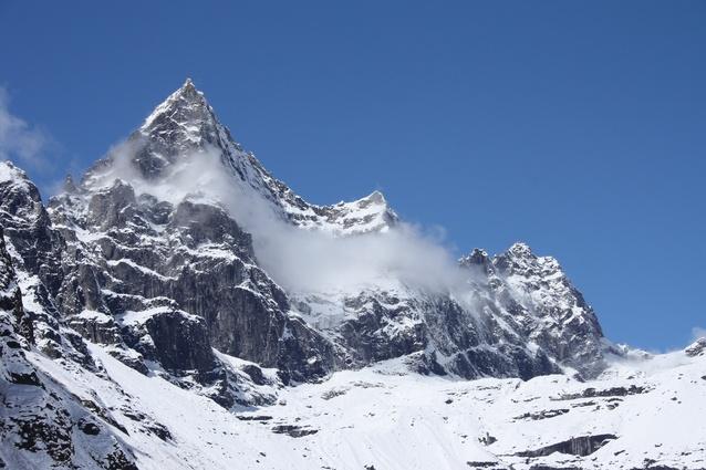 The snowcapped peaks surrounding Machhermo.