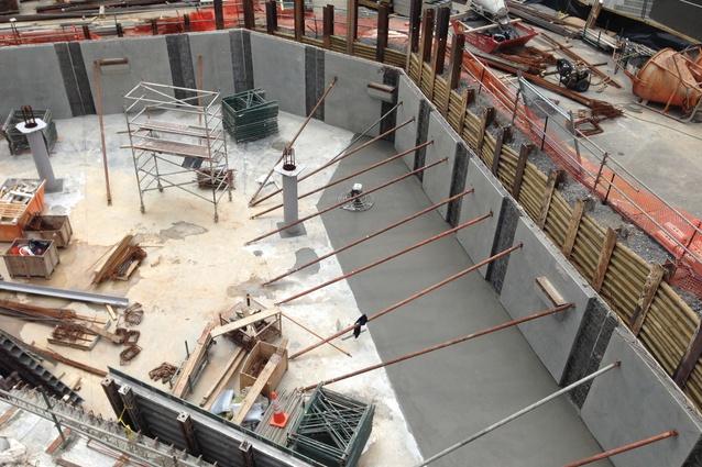 Construction of the basement carpark.