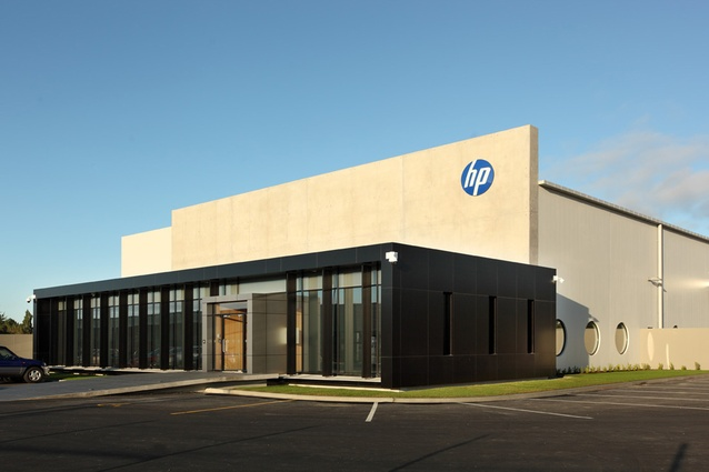 Completed – February 2012. HP building Dakota Park by Wilson & Hill, 46 Ron Guthrey Road, Christchurch Airport. This warehouse and office building has a steel frame with lightweight aluminium cladding and was the first designed by the practice under new building codes.