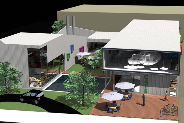 Corner of Moorhouse Avenue and Antigua Street by Thom Craig Architects and AMO. Mixed-use hospitality and gym, this modular design includes a drive-through fast-food outlet, offices, and courtyard hub.