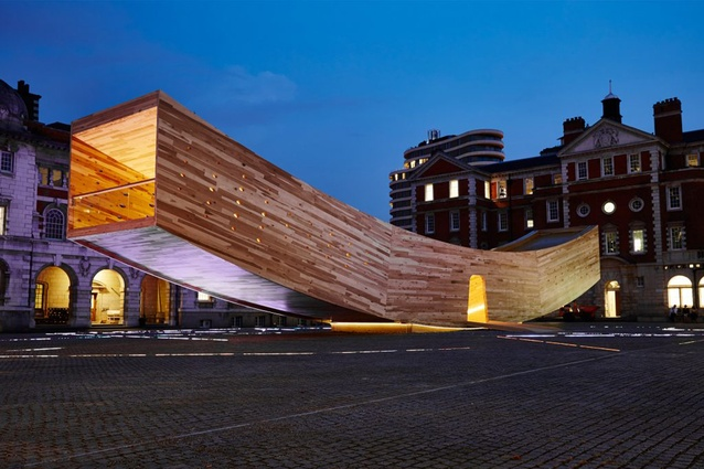 "The Smile by Alison Brooks for the London Design Festival. An innovative and complex use of cross-laminated tulipwood, the 34-metre-long structure is an inhabitable ""mega-tube""."