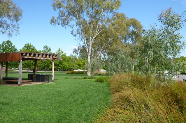 Native grasses and reeds compliment the rustic materials of the picnic shelter and intercept overland flow paths.