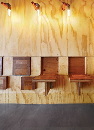 Made from recycled tasmanian oak, these tables can be folded away or flipped out  for use.