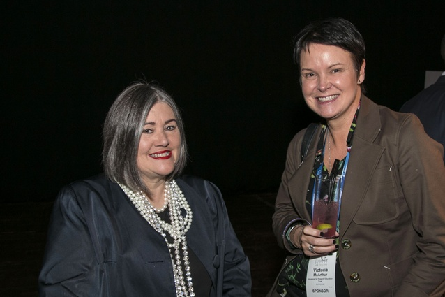 Denise L'Estrange-Corbet and a delegate enjoying the cocktail function at the CoreNet Symposium 2016.