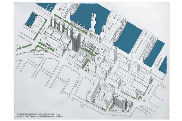 Proposed redevelopment axonometric sketch from the south-east.
