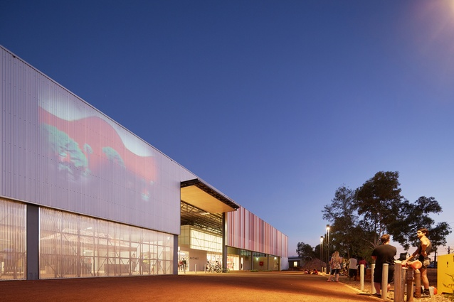 Adding to the varied functions of the arts centre, the expansive corrugated-iron facade can be used for projections.