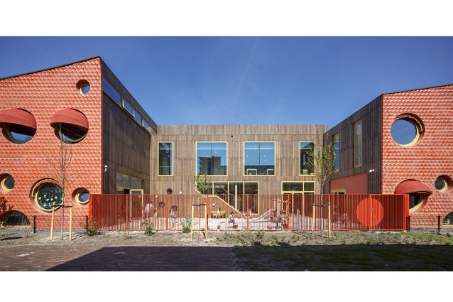 IKC Zeven Zeeën by Moke Architecten, Amsterdam. This energy neutral kindergarten and primary school is a link in a network of outdoor spaces in the neighborhood.