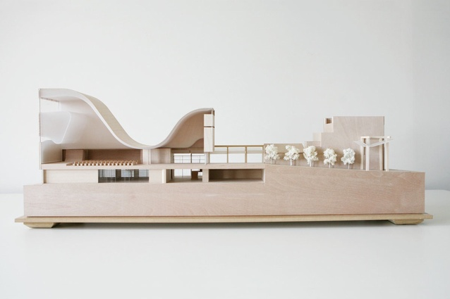 Balsa models show the interface between the building and the street.