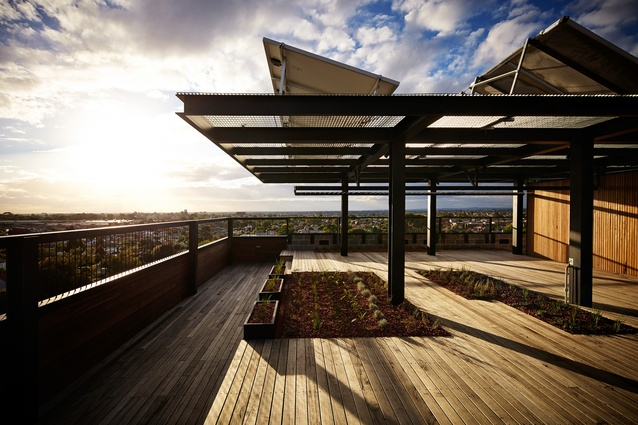 Residents have access to vegetable plots and a communal laundry and washing lines on the rooftop.