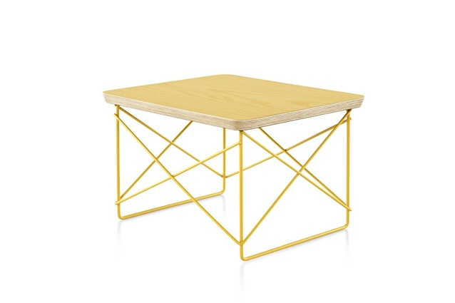 The Select edition Eames Wire Base Low Table in yellow-gold.