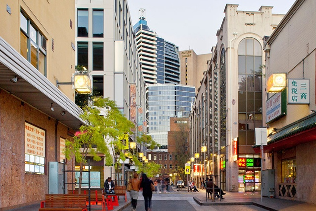 New street furniture, trees, paving and cobblestones in Chinatown, Sydney.