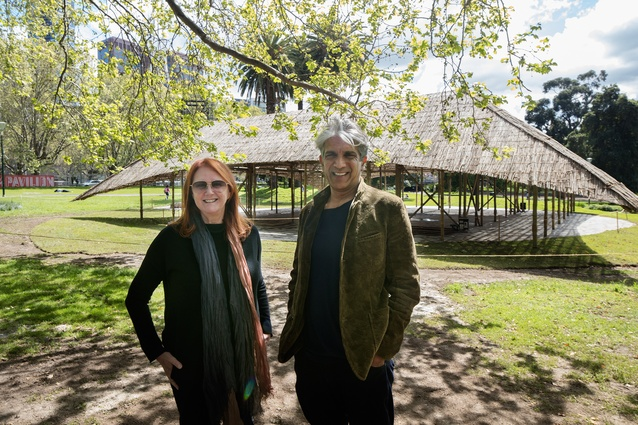 Naomi Milgrom (left) with Bijioy Jain (right) at the 2016 MPavilion designed by Studio Mumbai.