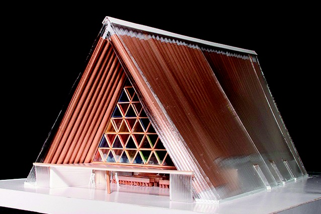 Completion date – June 2012. Cardboard Cathedral by Shigeru Ban, location unknown. A temporary cathedral for the Anglican diocese in Christchurch while they decide how to rebuild in Cathedral Square. The building will seat 700 people and is made from cardboard with a perspex sloping roof. One end of the A-framed building will be a large stained-glass window.