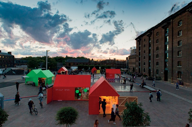 London Design Festival: Seven scaled-up Monopoly-style houses, designed by Michael Sodeau and painted green or red, temporarily installed in Granary Square, were quirky architectural additions.