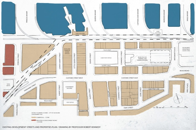 Existing development streets and properties plan.