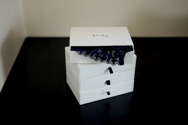 Lonely lingerie: Jessica's stack of lingerie from Lonely is kept in its original boxes. She appreciates the simplicity of the packaging and the style and ethos of the label.
