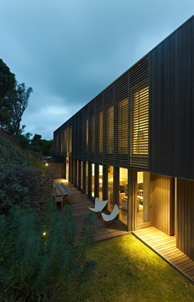 The night effect of the timber-batten screens.