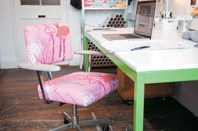 Pugh bought this pink re-covered office chair in a junk shop.