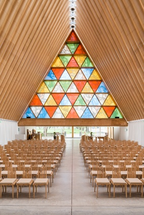 Cardboard Cathedral by Shigeru Ban Architects (Christchurch, New Zealand, 2013).