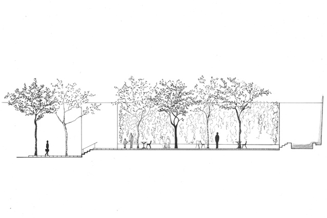 Render of New York City's Paley Park.