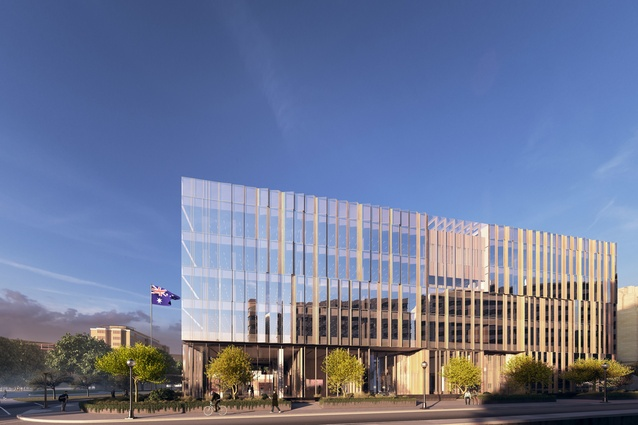 East elevation of the proposed Australian embassy building in Washington DC, USA, by Bates Smart.