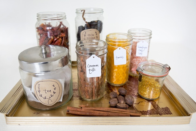 "Jars: ""I'm obsessed with decanting everything into jars. I always label jars with hand written brown paper labels."""