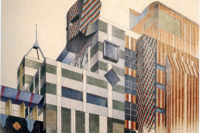 Corrigan's sketch of Building 8, RMIT University, Melbourne by Edmond and Corrigan, 1994.