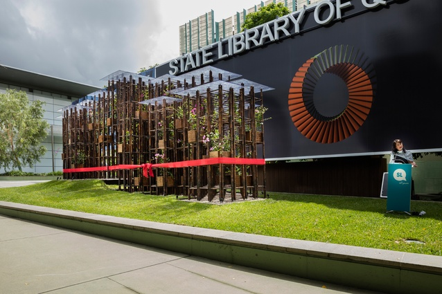 Sonia Cooper, Acting State Librarian and Chief Executive Officer of the State Library of Queensland speaking at the unveiling of Green Ladder.