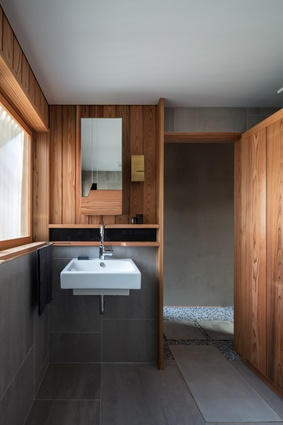 The bathroom of the Kyoto Terrace House by Atelier Luke.
