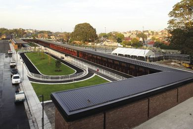 The Royal Randwick Racecourse facilities in their inner-city setting.