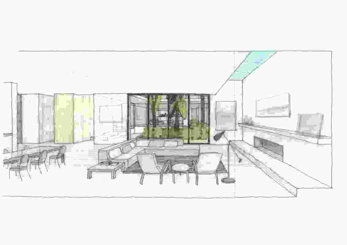 Internal perspective of the Garden House.