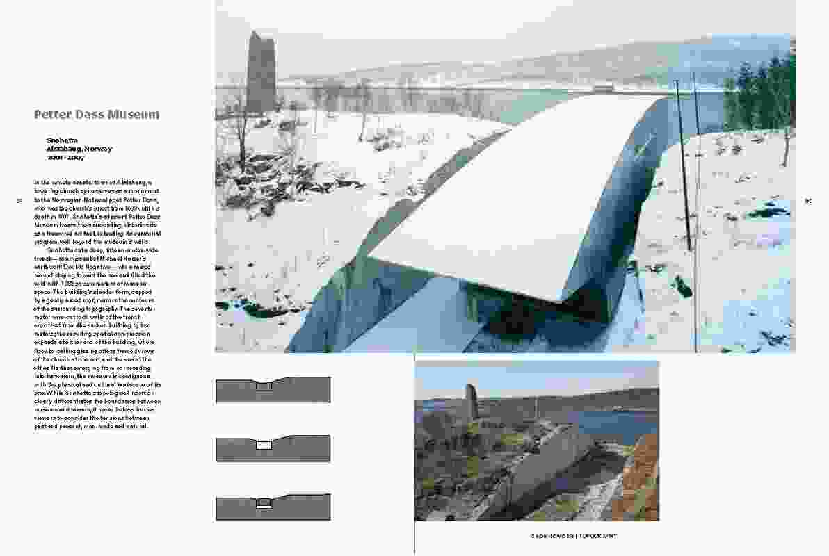 A spread from the Groundwork publication, where Norway's Petter Dass Museum is described as topographical.