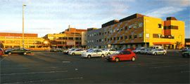Overview of the front of Sunshine Hospital, with the new ward building in the foreground.