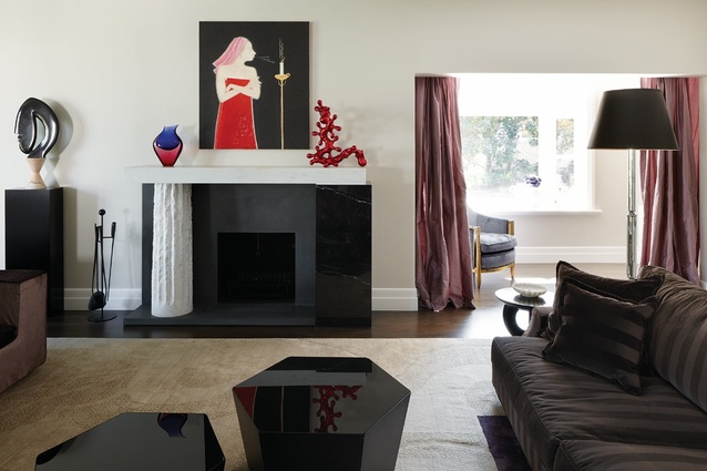 An asymmetrical marble fireplace is featured in the drawing room. Artworks L–R: Joel Elenberg (sculpture), Vivienne Shark Lewitt (painting), Siobhan Ryan (red sculpture).